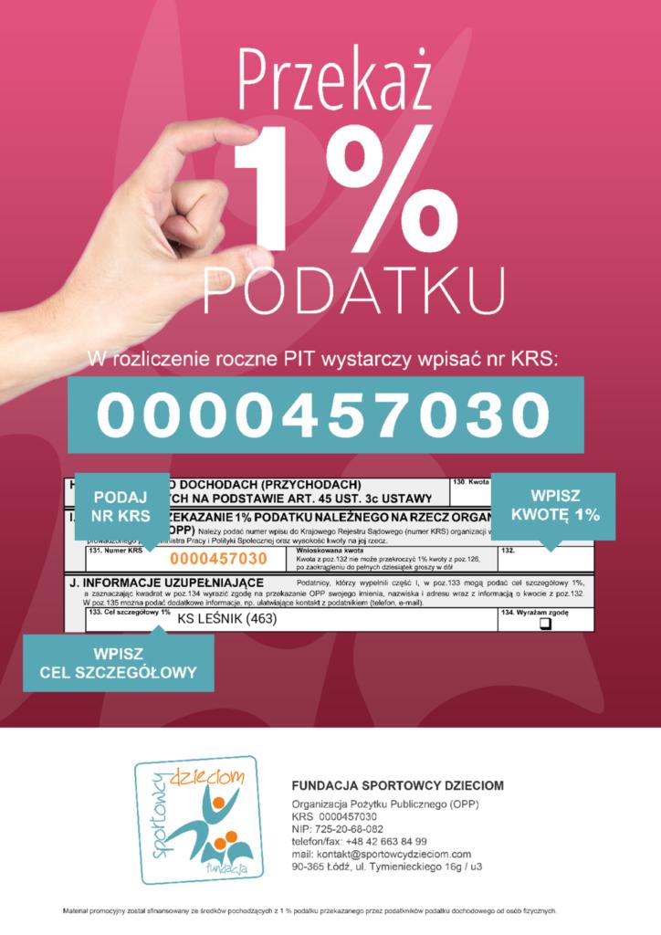 1% podatku - 0000457030, cel szczegółowy: KS Leśnik (463)